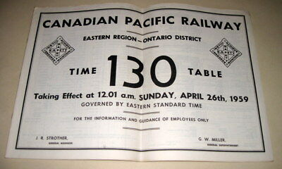 CANADIAN PACIFIC Employee Timetable  EASTERN REGION  ONTARIO DISTRICT 1959  CPR