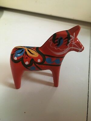 "NILS OLSONN Swedish DALA HORSE Vintage Miniature  Red About 3"" Tall"