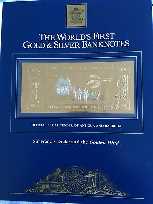 23k Gold & Silver UNC $100 Antigua Banknote  Sir Francis Drake & the Golden Hind