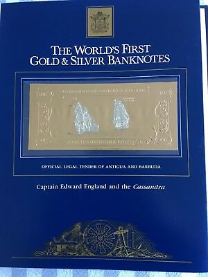 23k Gold & Silver UNC $100 Antigua Banknote Cpt Edward England and the Cassandra