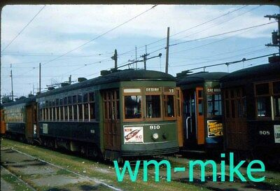 TROLLEY #230 New Orleans car 910 at Canal Yards in 1959 ORIGINAL slide