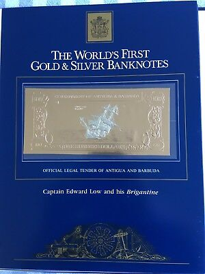 23k Gold & Silver UNC $100 Antigua Banknote Captain Edward Low & the Brigantine