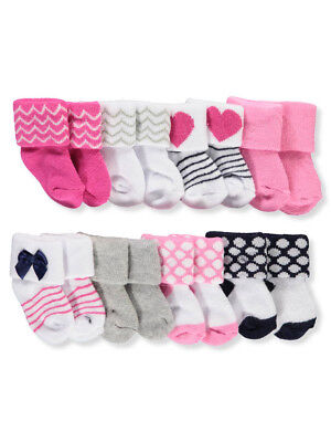 Luvable Friends Baby Girls' 8-Pack Foldover Socks