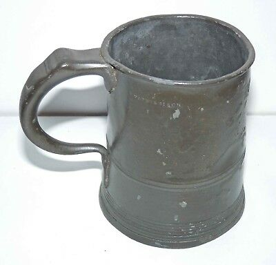 Antique c1830-37 William IV, Pewter Ale Tankard, Yates & Birch