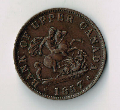 1857 Bank Of Upper Canada Half Penny Token