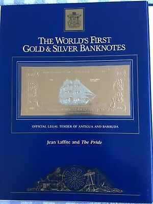 23k Gold & Silver UNC $100 Antigua Banknote - Jean Laffite and The Pride