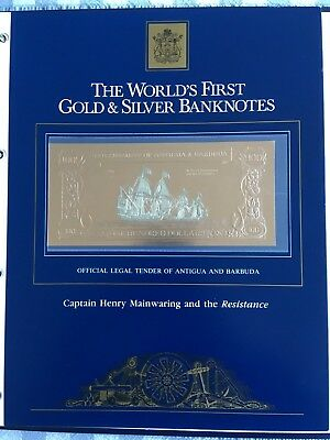 23k Gold & Silver UNC $100 Antigua Banknote Captain Henry Mainwaring Resistance