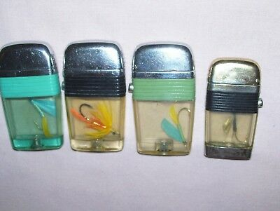 Lot 4 Old Vintage Scripto Lighters Fly Fishing Lures Olive Green Band Black