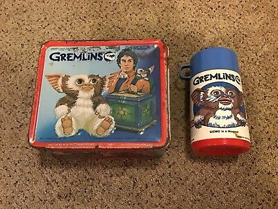 1984 Aladdin Gremlins Metal Lunch Box w/ Thermoses - See Pictures
