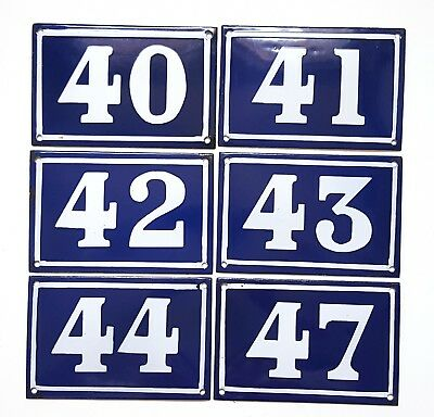 Antique French house number Blue enamel 40 41 42 43 44 47 Door street sign plate