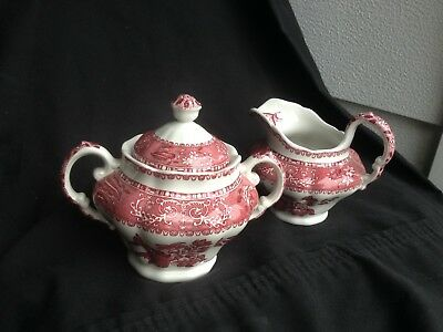 Vintage Spode Pink Camilla Copeland Cream/Sugar Red/ White Floral Design ~4-6 Oz