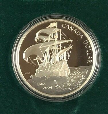 2004 Canadian Proof Silver Dollar - 400th Ann. 1st French Settlement  (CS#404)