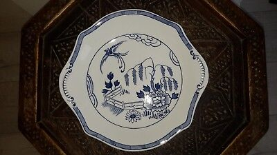 Vintage Art Deco 1922 blue/white Bristol Pountney Willow Pattern cake plate 9.5""