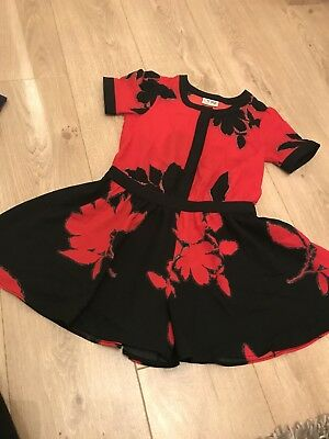 Next Black And Red Floral Playsuit Age 8 - In Ex Con - Christmas Day