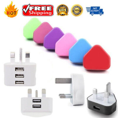 USB Wall Charger Mains Plug Adapter for Mobile Phone X 8 Plus 7 6 5 IPOD UK Plug