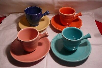 4 Fiestaware Demitasse Cups Saucers - Vintage And New! Turquoise Pink Cobalt Org
