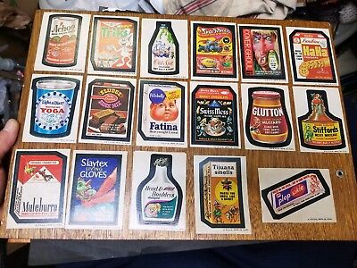 Vintage 1970s Wacky packages lot of 17 never used stickers you grade and ID Age