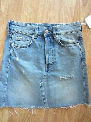 8911bd3e08 Women H&m Light Blue Destroyed Denim Mini Skirt Distressed Size 6 Us/ 36  Eur Nwt