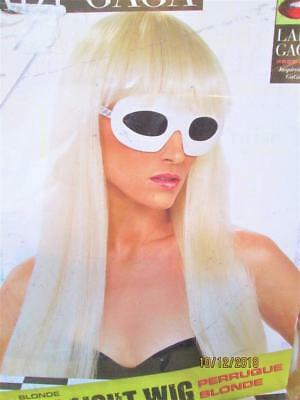 New Rubie's Official Lady Gaga Blonde White Long Straight Halloween Costume Wig