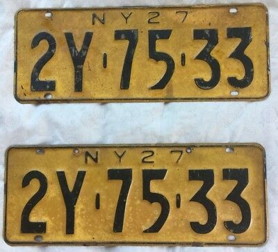 1927 New York License Plate Pair 2Y 75 33 Great Original Condition