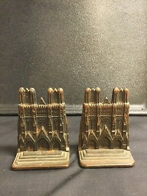 Pair Vintage Antique Cast Iron Notre Dame Cathedral Bookends
