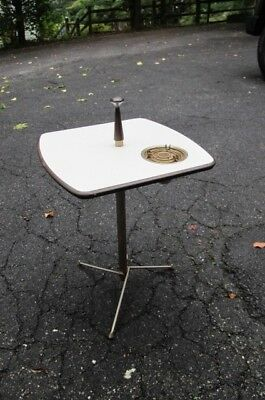 vintage Mid-Century Modern ashtray cigarette holder stand Atomic Side Table