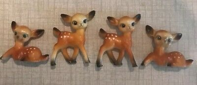 Vtg Set 4 Family Hard Plastic Figurines Christmas Deer REINDEER Made Hong Kong