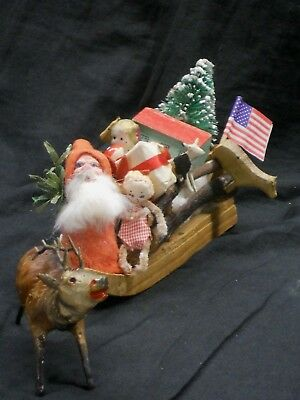 Antique/vintage German Santa, Sleigh ((Signed) & Reindeer, Toys, 15 Pieces, Vgc