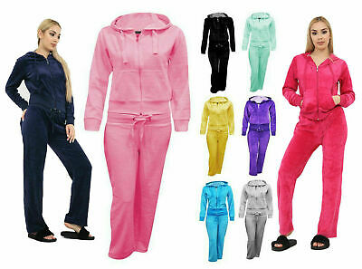 New Ladies 2 Piece Casual Velour Tracksuit UK S - XL