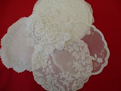 Lovely Mixed Lot Of 24 Vintage Linen & Lace Round Doilies Drink Coasters