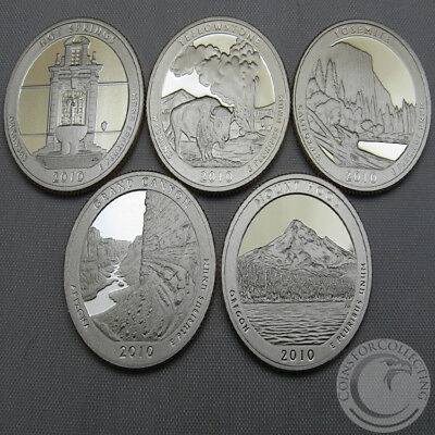 2010-S Bu National Parks Quarter Proofs Set Of 5 America The Beautiful