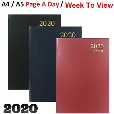 2020 A4 / A5 Diary Day to Page or Week to View Desk Diary Hard Backed Dairy 2020