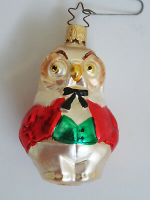INGE GLAS WISE OWL German Blown Glass Christmas Ornament Heirloom