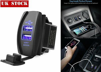 Universal Twin Dual Double Port 2 USB 12V In Car Socket Lighter Charger Adapter