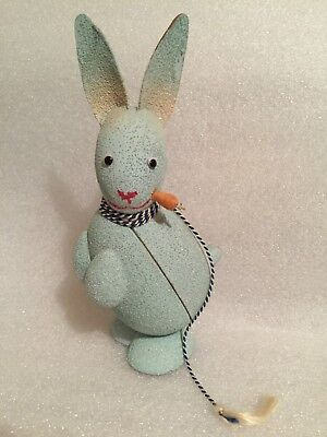 RARE VINTAGE Easter W German Pressed Cardboard Beaded Rabbit Candy Container