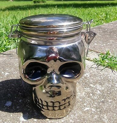 New Boston Warehouse Halloween Chrome Silver Ceramic Skull Canister Cookie Jar