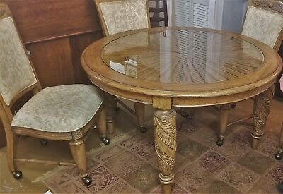 "Vtg Lexington Tommy Bahama 52"" Dining Table 4 Chairs Carved Leaves Sunburst Top"