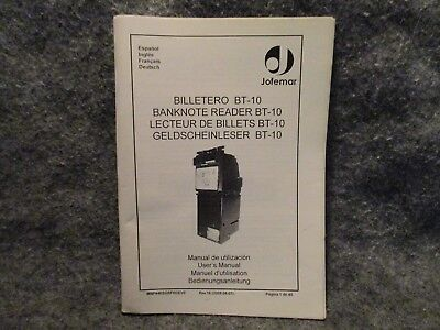 Vending Machine Jofemar Banknote Reader BT-10 Manual Guide Book English Spanish