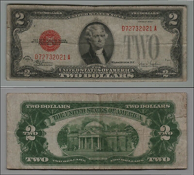 1928F $2 Dollar Bill Old Us Note Legal Tender Paper Money  Red Seal  Lot B358