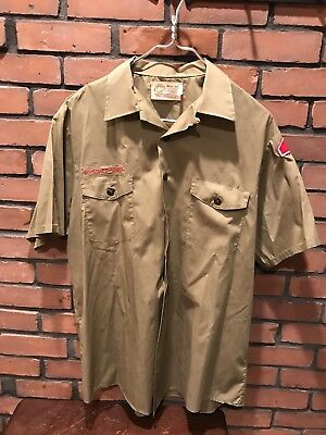Boy Scouts Of America Short Sleeve Mens Large Neck Olive Green Various Patches