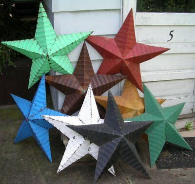 """authentic AMISH BARN TIN STAR primitive rustic 22"""" MANY COLORS red black white"""