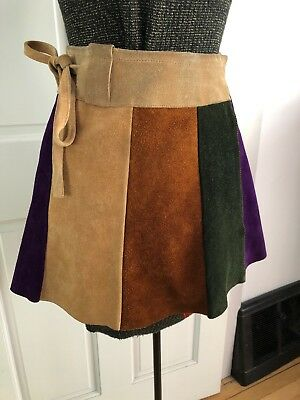77b8c3aec4 Vintage 70s Suede Leather Patchwork Wrap Mini Skirt Xs Small Hippie Boho