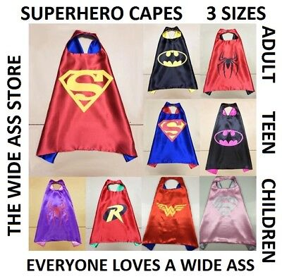 Superhero Cape Adult Large Teen Medium Kids Small Halloween Costume