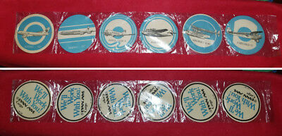 "NEW ~ UNOPENED: Set of 6 ~ Vintage PAN AM CARGO Aircraft 4"" Coasters/Beer Mats"