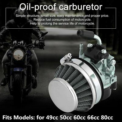 Two-Stroke Engine Carburetor with Air Filter for Motorized Bike Bicycle White UK