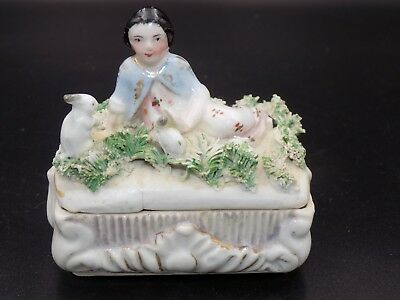 Antique Victorian China Fairing Box--Girl with Rabbits