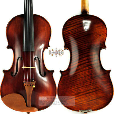 Pro Master Dark Antique Stradivari Violin 44 Rich Tone Beautiful One Piece Maple