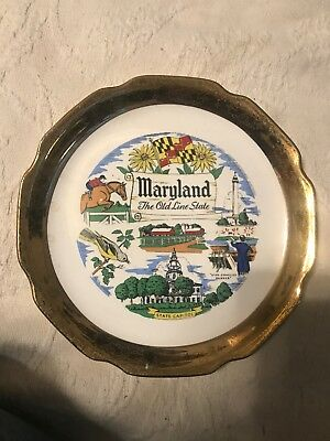 Maryland the Old Line State Souvenir Plate Capsco Product 22K