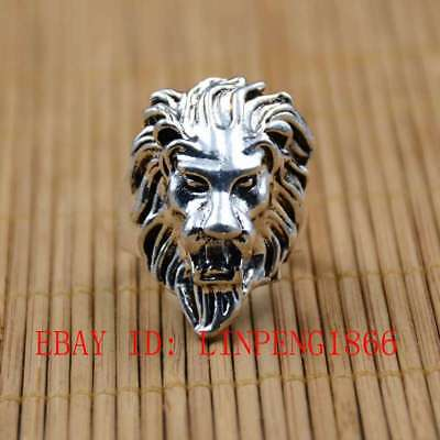 Tibetan Silver Hand-carved Lion Head Rings L01