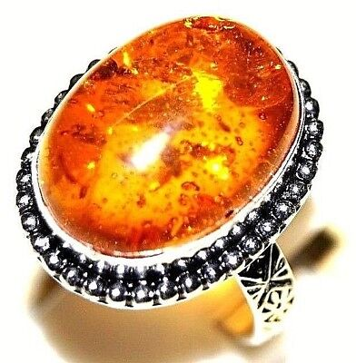 5.76 g Orange Color Amber Ladies Ring Size Us 7 Silver Plated Handmade Jewelry
